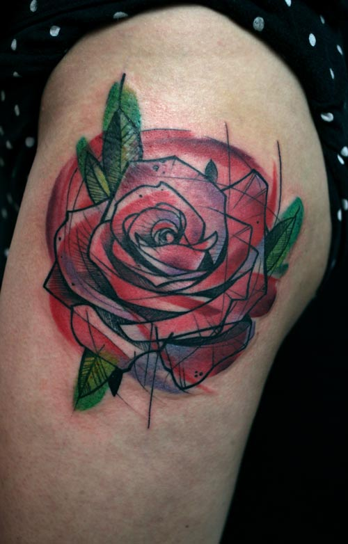 Peter aurisch s geometric tattoos make something mondays for Abstract rose tattoo