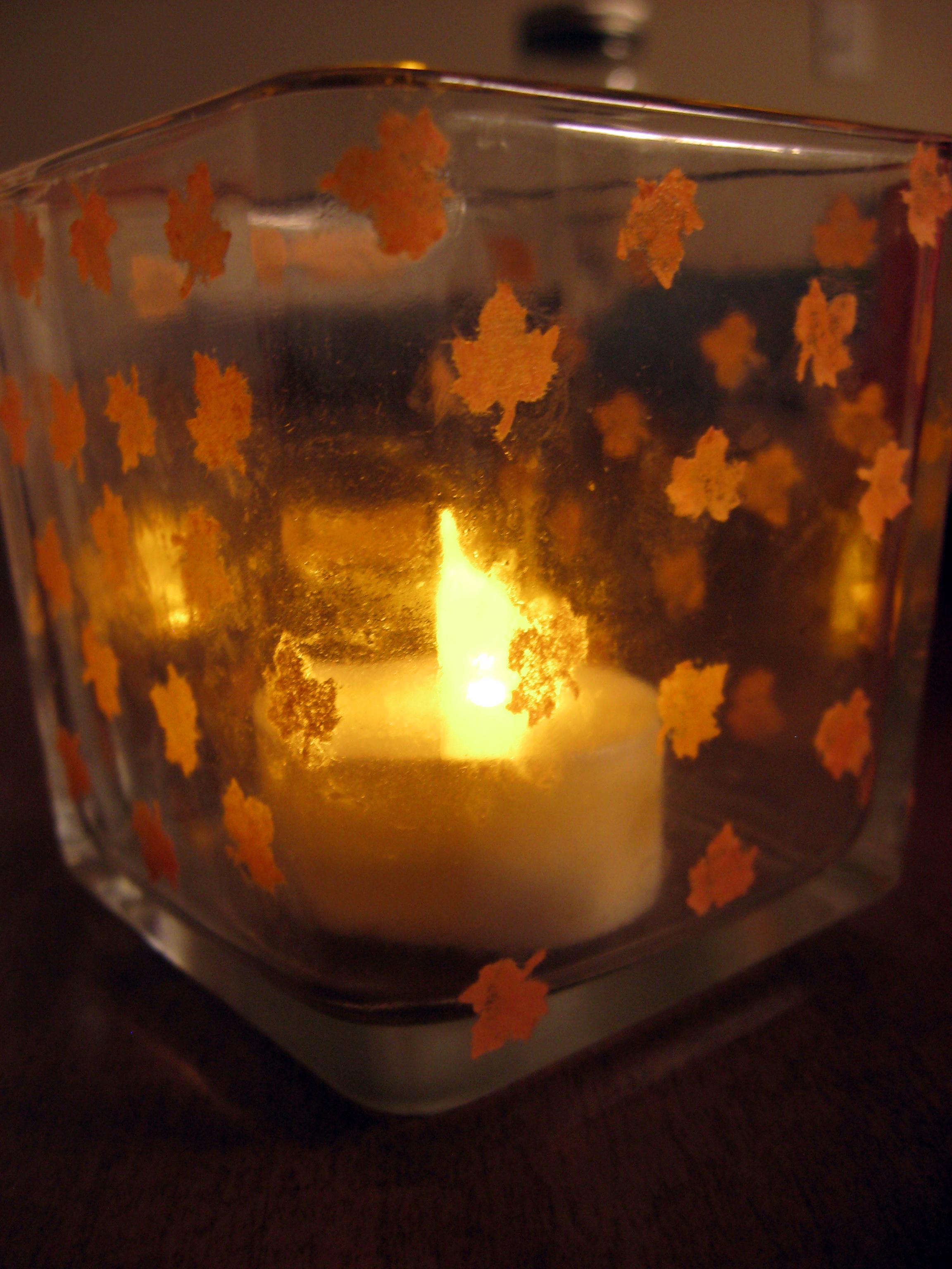 Diy fall inspired votive holder make something mondays for Homemade votive candles