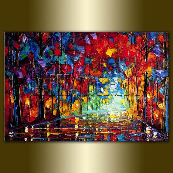 dark walkway oil painting