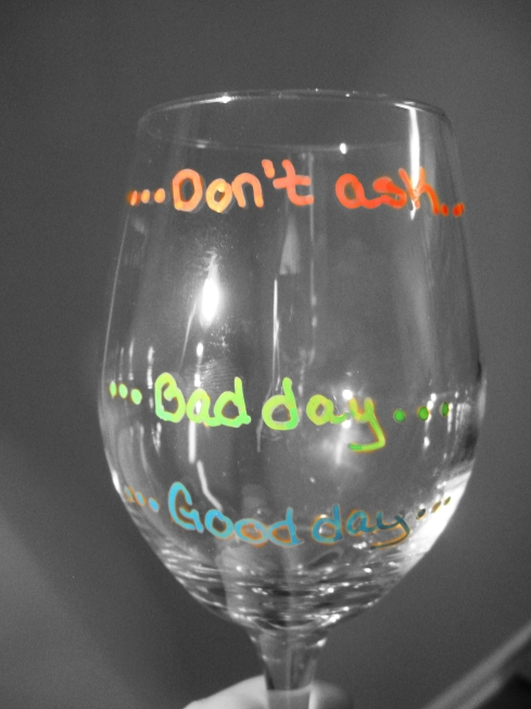 text on bad day wine glasses