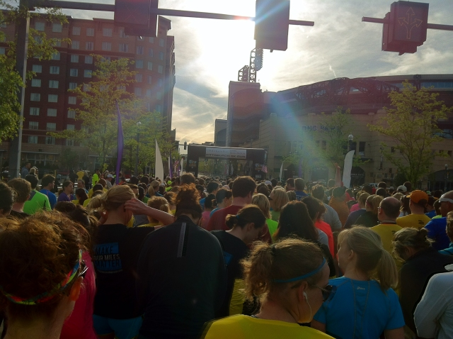 Starting line for the Pittsburgh Marathon 2013