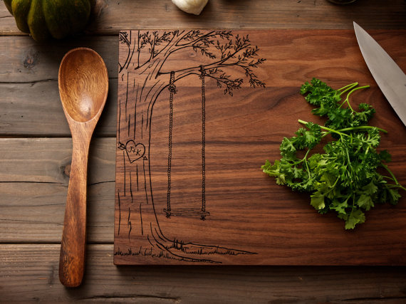 Personalized Heart Engraved Wood Cutting Board $45