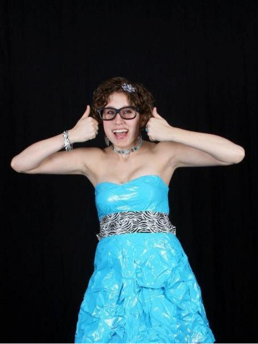 blue and zebra duct tape prom dress