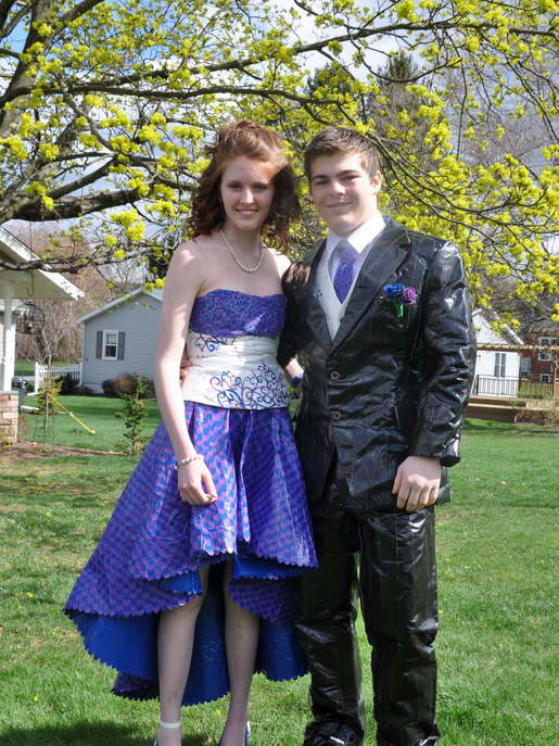 purple and blue duct tape prom wear