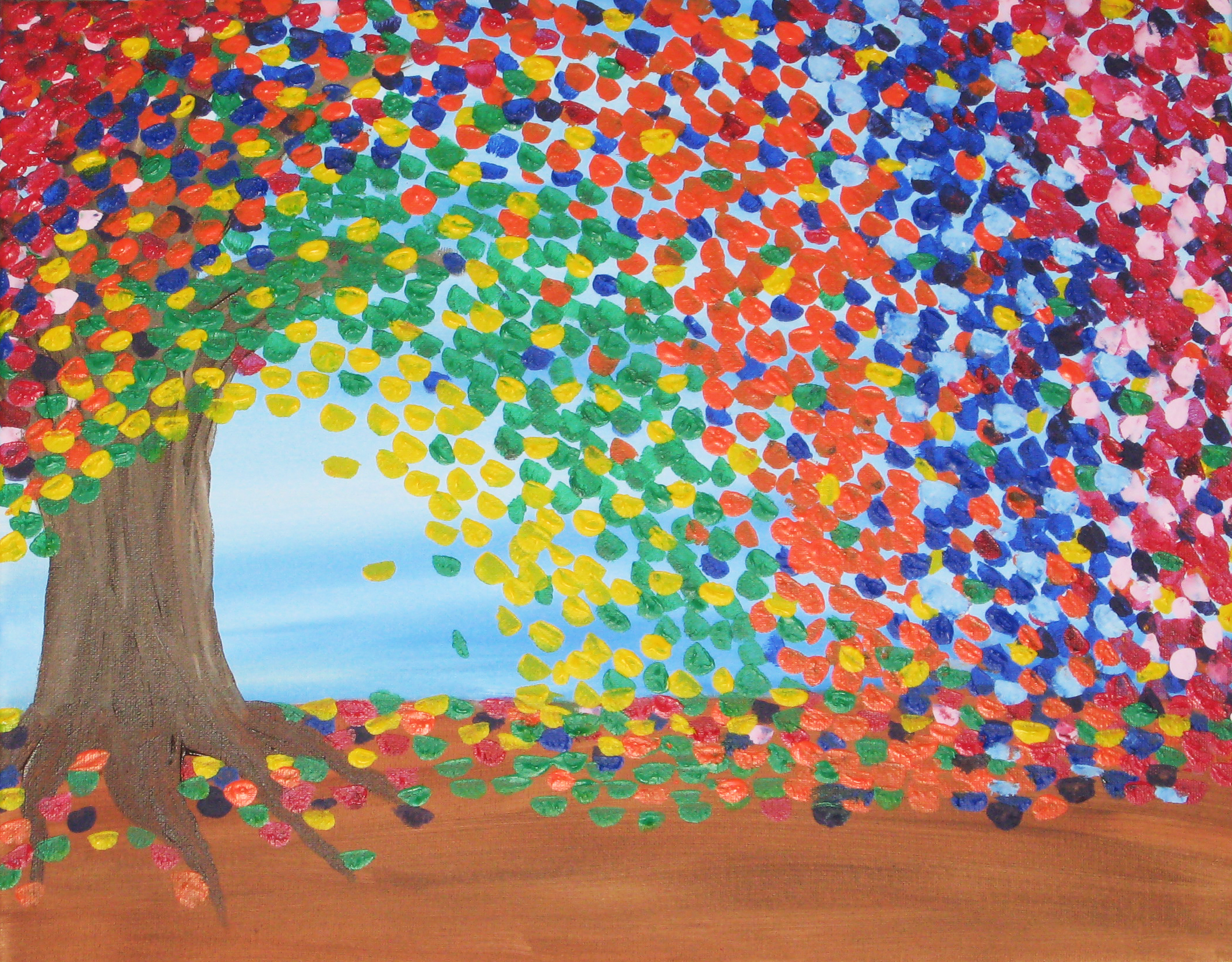 Diy abstract tree painting make something mondays for Abstract mural art