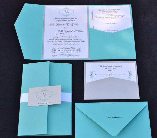 Teal wedding invitations