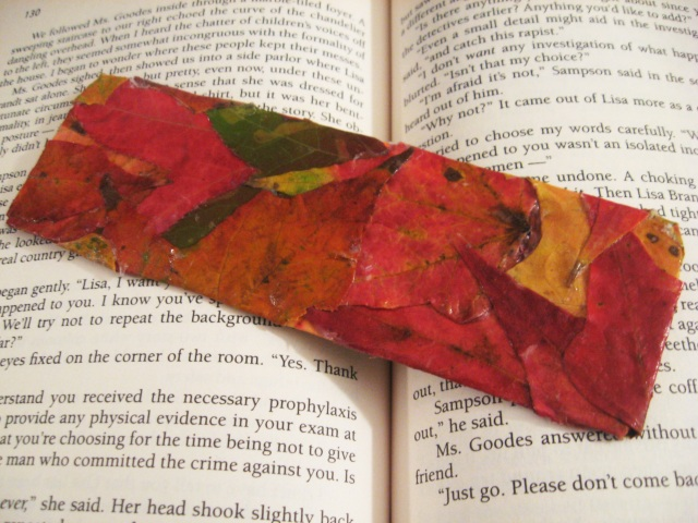 diy leaf bookmark