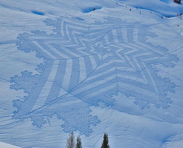 snowflake made from snowshoes
