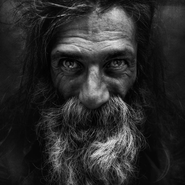 black and white portraits of the homeless