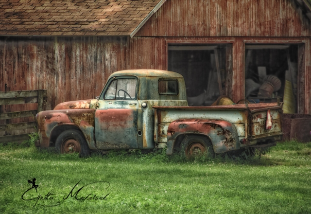 old truck by the barn