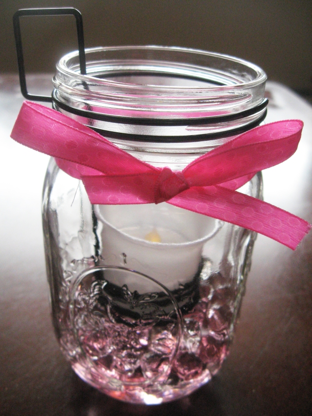 DIY mason jar LED candle decor
