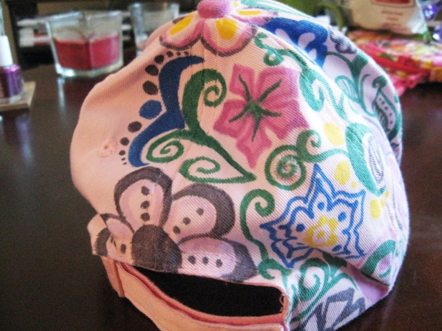 Ball cap doodles on back