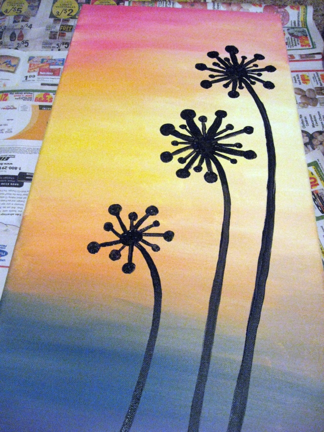 dandelion silhouette painting