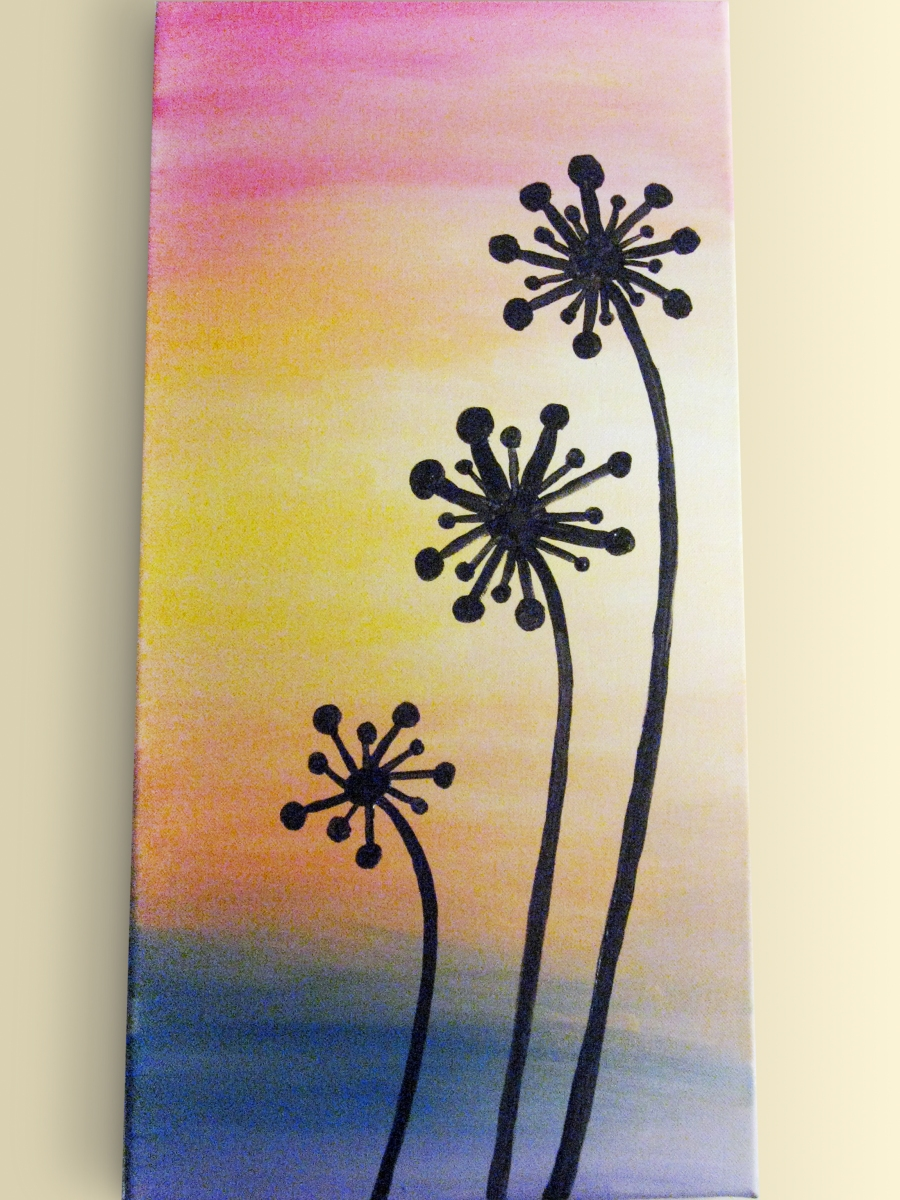 DIY Dandelion Silhouette Painting | Make Something Mondays! Easy Acrylic Flower Paintings On Canvas