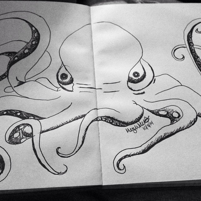 Octopus sketch for #inktober