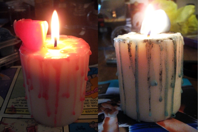 pink and green candle wax