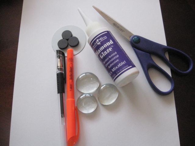 Materials for DIY Snowman Magnet