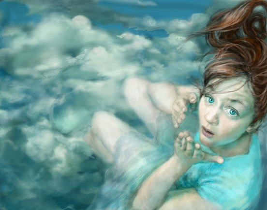 Elena Caravela: girl in the clouds painting