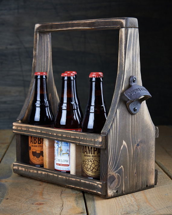 6-pack wooden beer carrier
