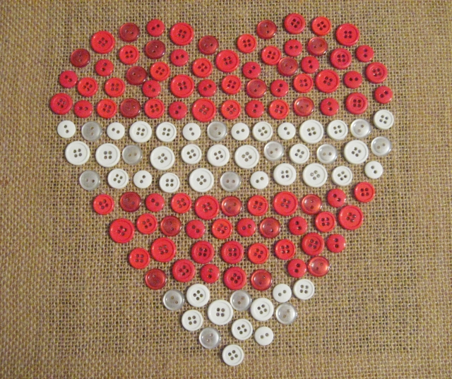 button heart valentines day canvas