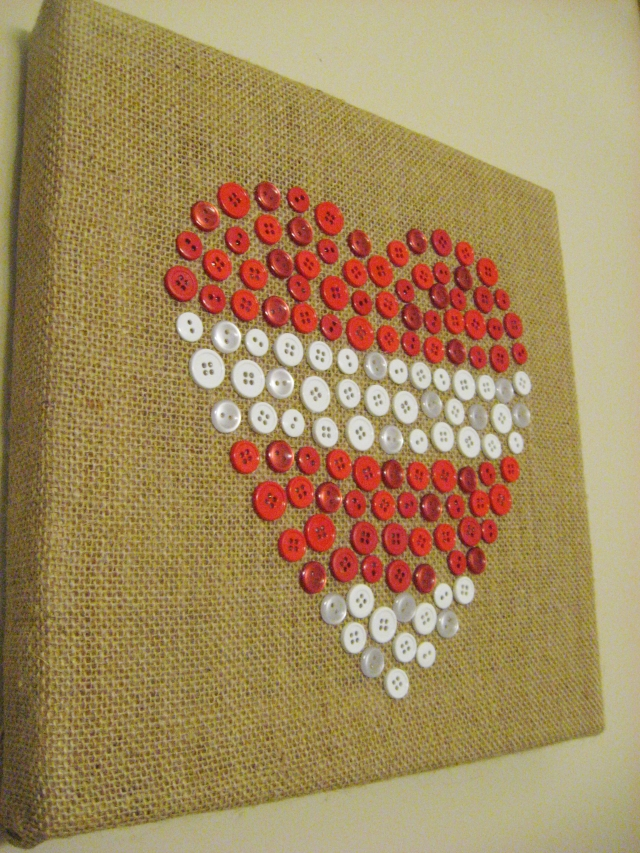 DIY Valentine's Day Button Heart Canvas