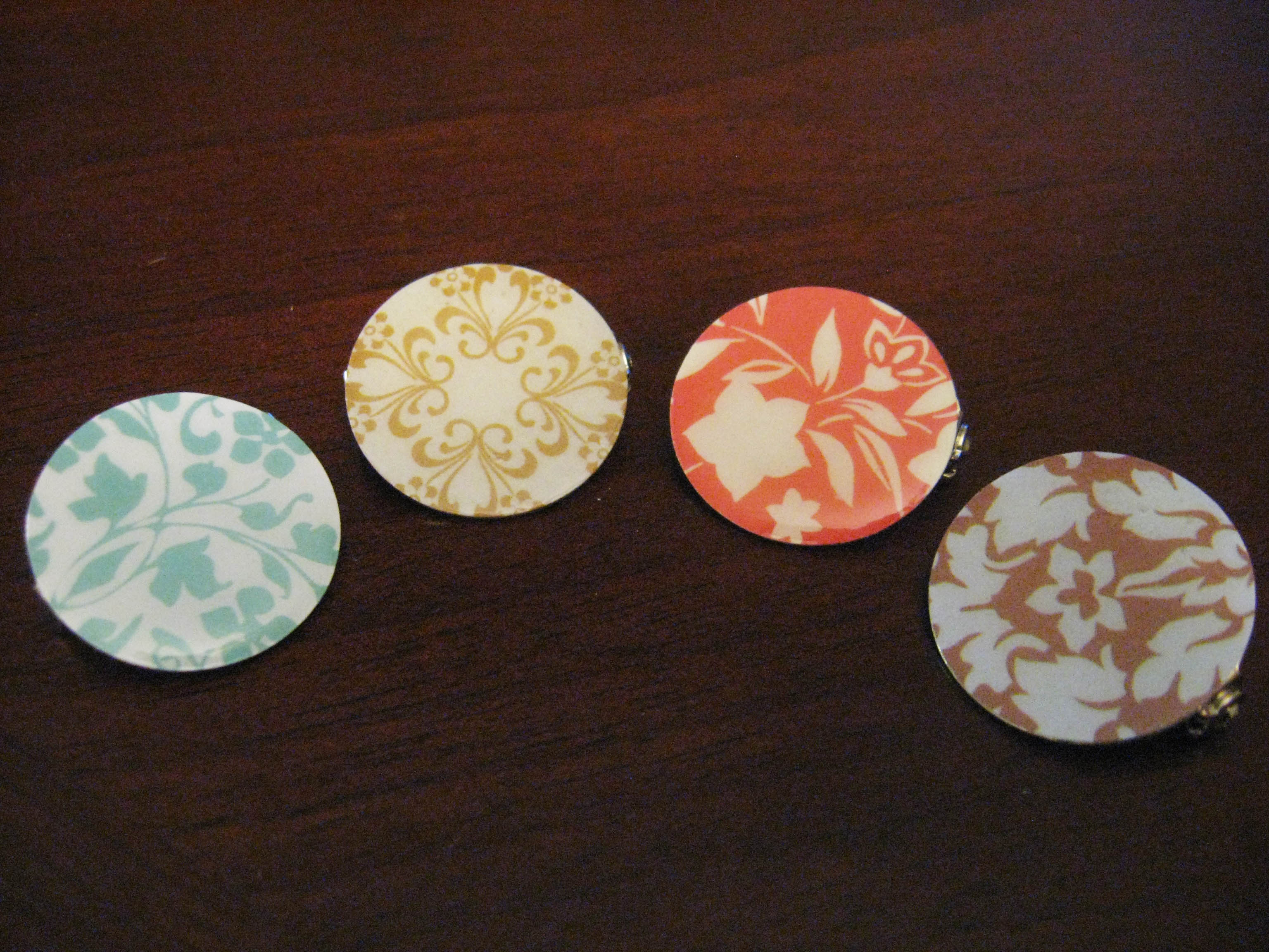 Diy decorative scrapbook paper pins make something mondays for Decorative pins for crafts