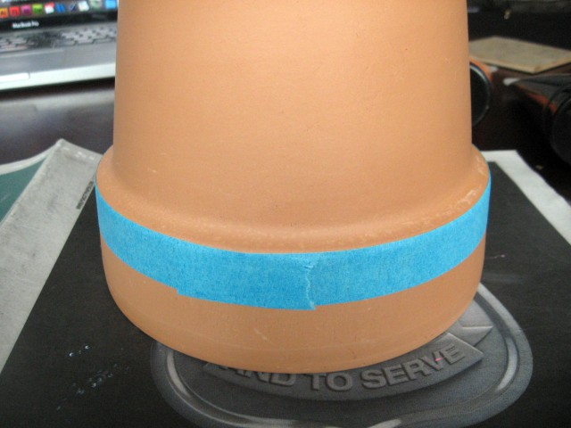 painting tape on planter
