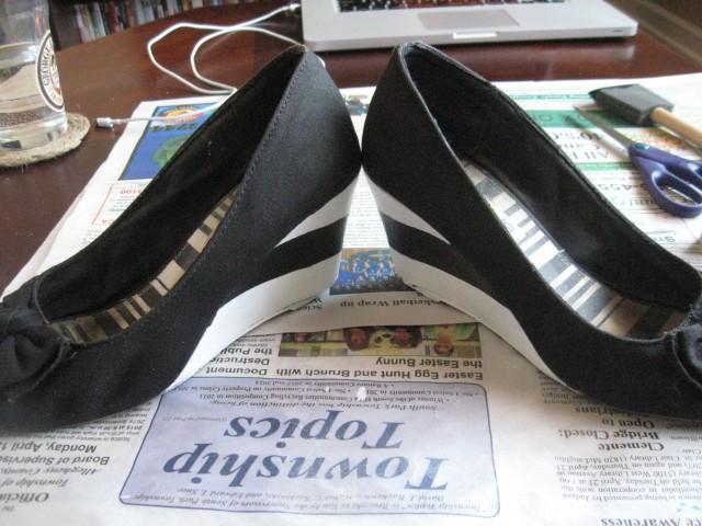 striped wedge heels