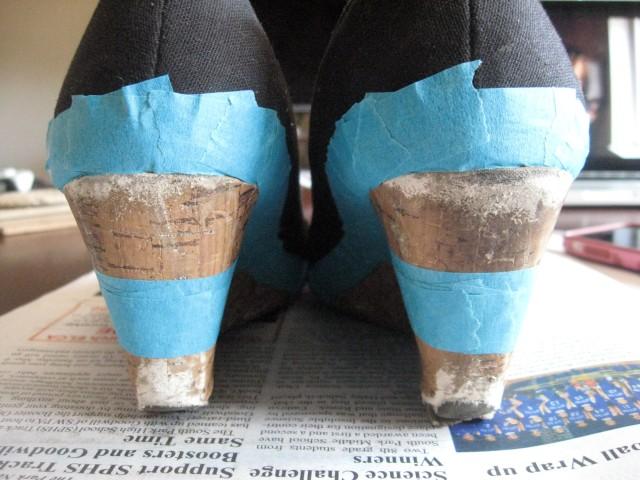 taped wedge heels