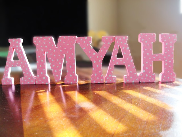 Diy baby name letter decor make something mondays for Baby name decoration