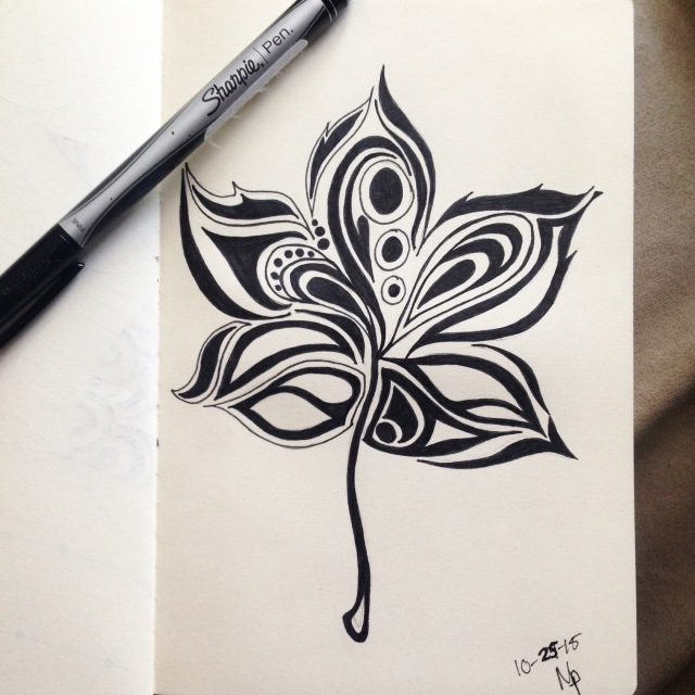 abstract leaf drawing inktober
