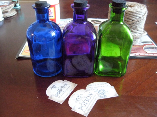 halloween bottles and labels