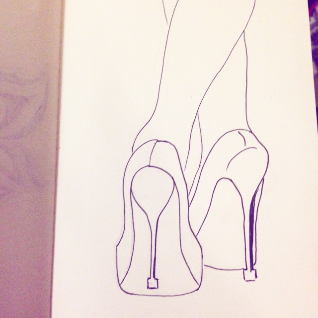 high heels drawing inktober
