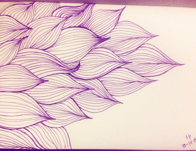 purple leaf inktober drawing