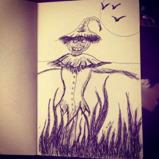 sad scarecrow drawing inktober