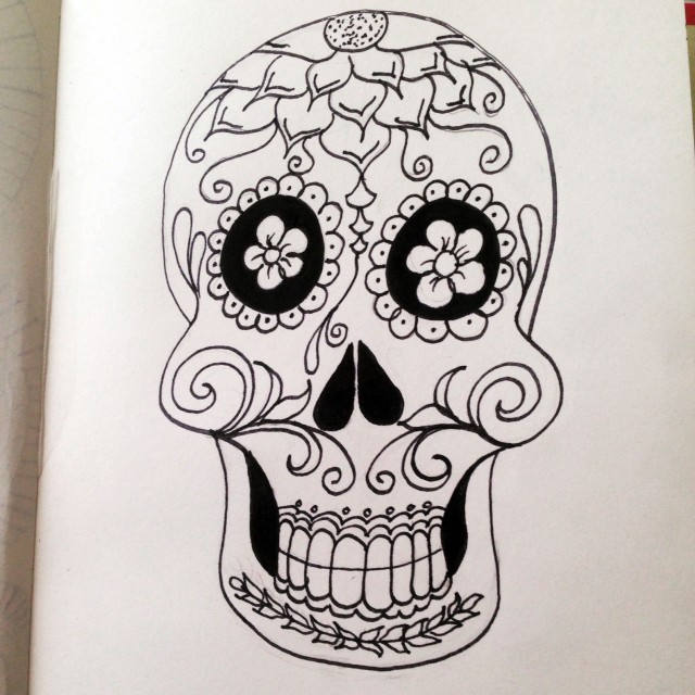 sugar skull drawing inktober