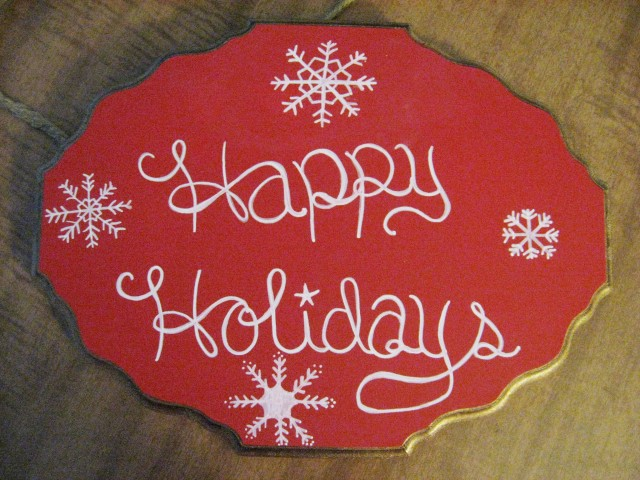 Happy Holiday handwritten sign