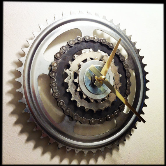 clock made from bike parts