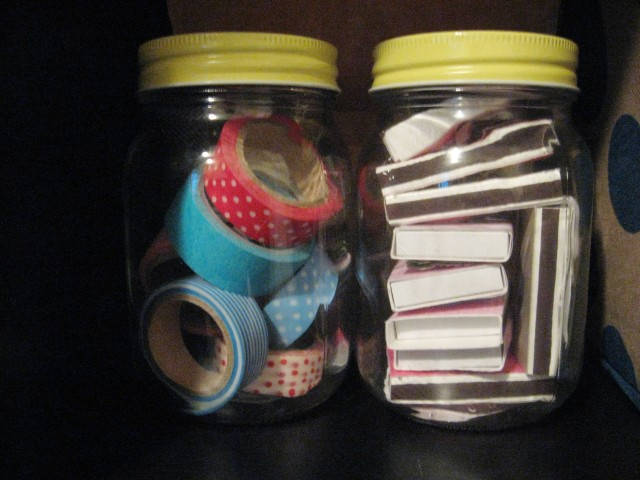 Washi Tape and Match storage jars