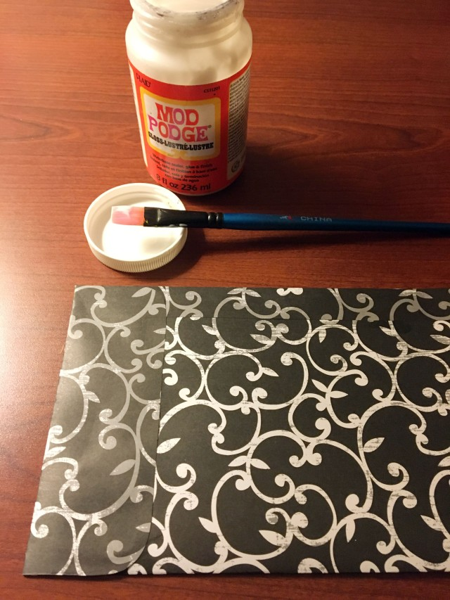 glue tabs to paper to make envelope