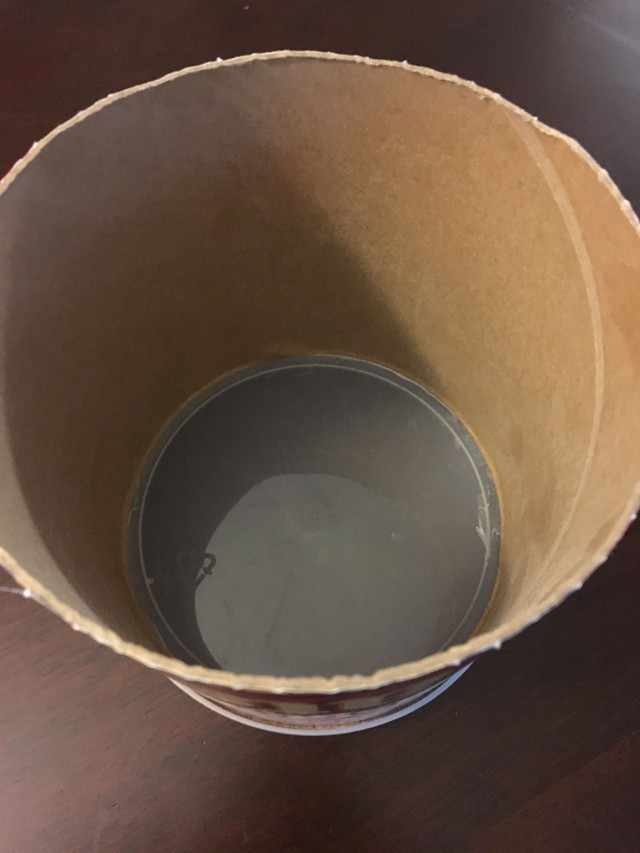 half of the oatmeal container