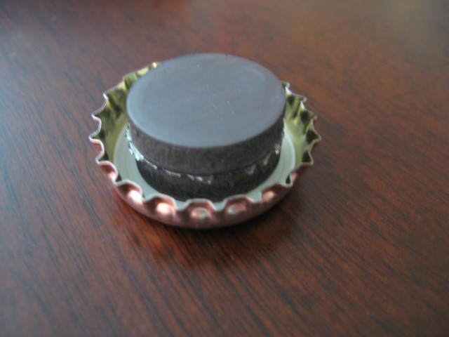 Super glued magnets and beer bottle cap