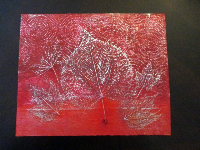 DIY leaf relief painting
