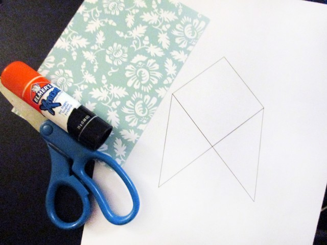 Materials needed for paper bookmark for page corners