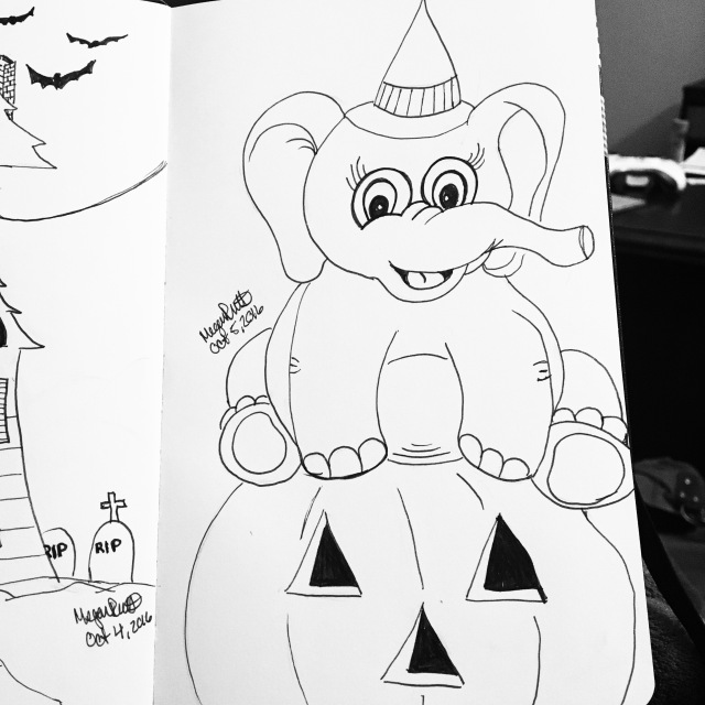Halloween elephant drawing