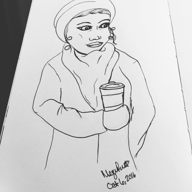 drawing of a girl with a jacket and scarf