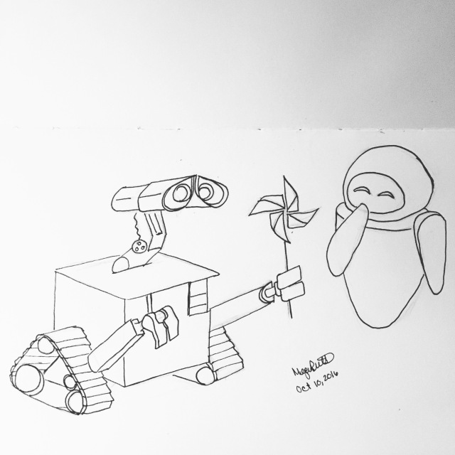 Inktober day 10 - Walle and Eve doodle