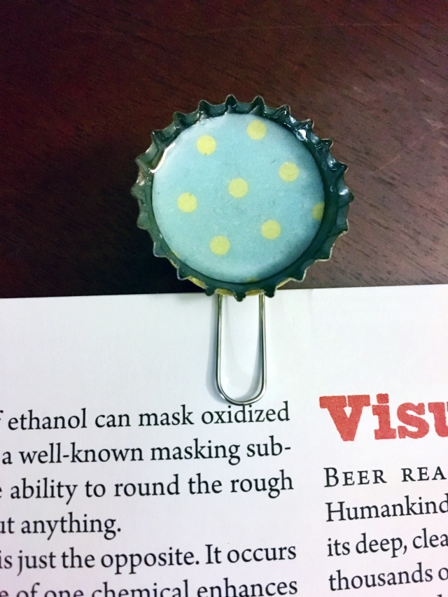 diy bottle cap bookmark