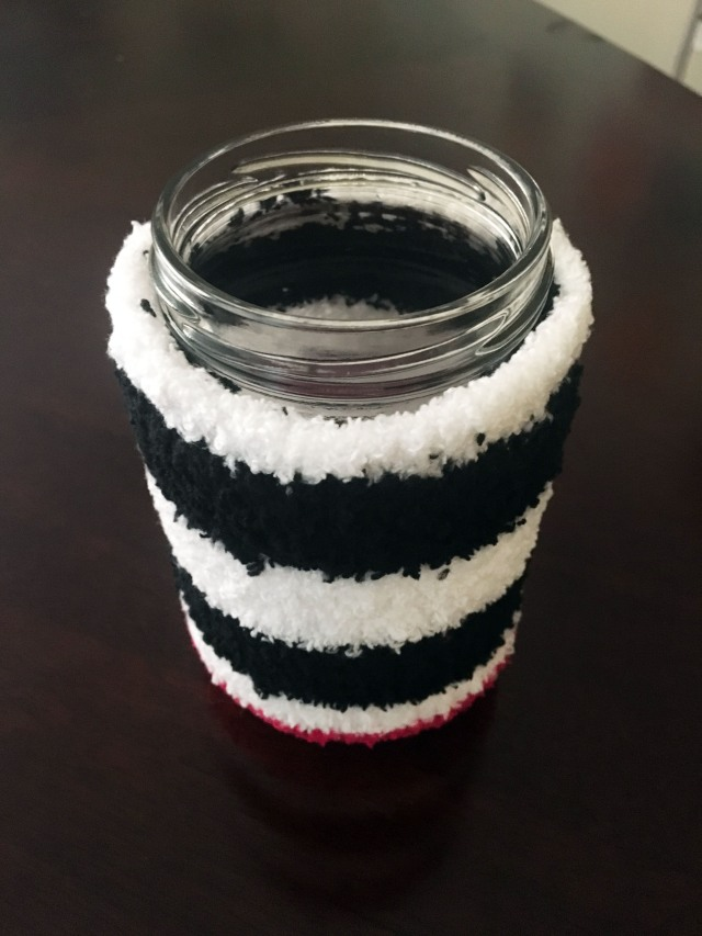 DIY Cup Cozy from a Dollar Store Sock