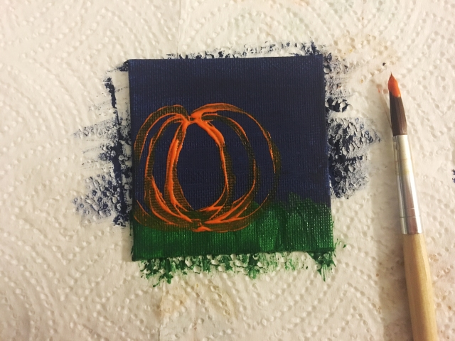 paint outline of a pumpkin